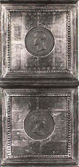 napoleon [and] josephine [med: sepia tinted lead  relief plaques] by jean-bertrand andrieu